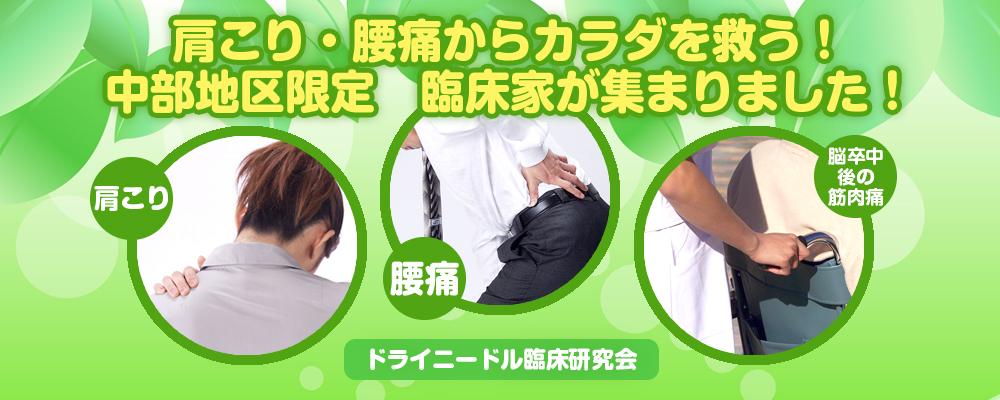 肩こり・腰痛にお困りなら ドライニードル臨床研究会